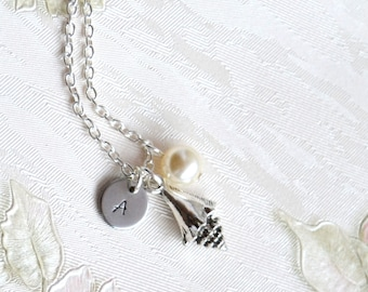 Shell necklace Personalized gift BFF necklace Gift for her Initials necklace Sea jewelry Silver necklace Swarovski jewelry Best friend gift