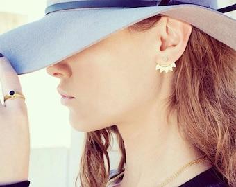 Sun Earring, Single Ear Jacket, Geometric Jacket Earring, Front To Back Earring, Front Back Earring, Double Sided Earring, Two Sided Earring