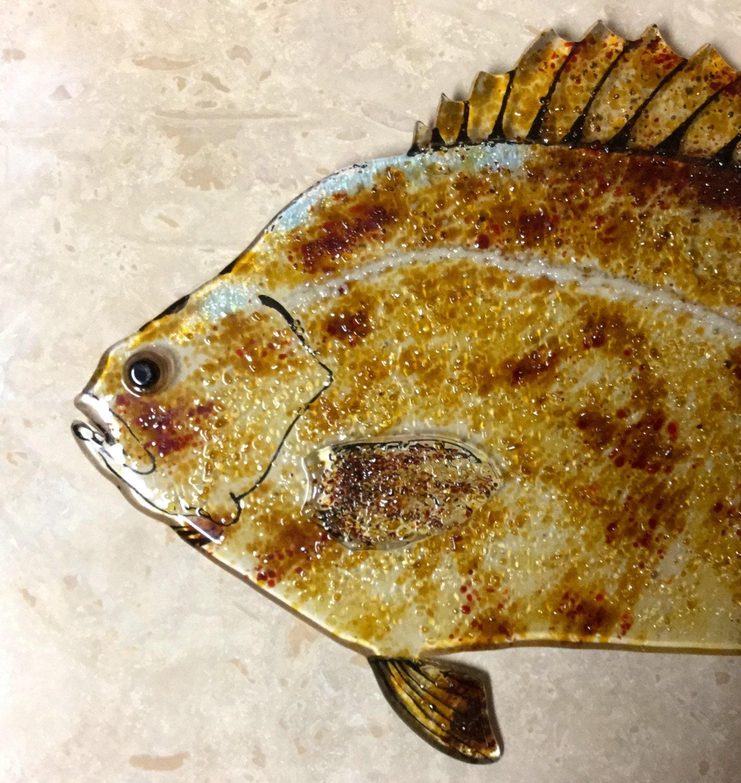 FUSED GLASS FISH. Triple Tail Glass Fish Art Fused Glass