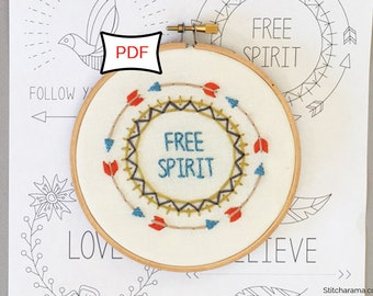 Boho Inspirational Embroidery Pattern • PDF Download