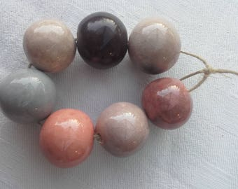 Pink and beige ceramic beads