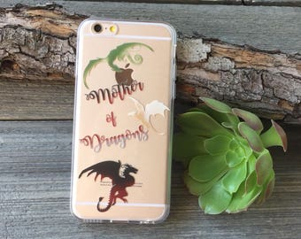 Mother of Dragons Phone Case for iPhone 5, SE, 6, 6 Plus, 7, 7Plus, 8, 8 Plus and X. TPU or Wood Options