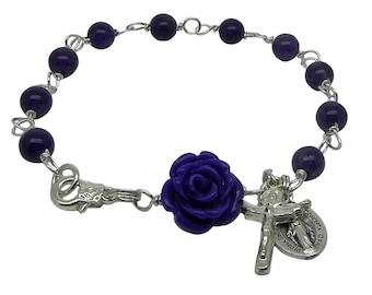 Silver Rosary Bracelet with Purple Amethyst  Gemstone, Miraculous Medal & Trinity Crucifix, Catholic Jewellery, February Birthstone Bracelet