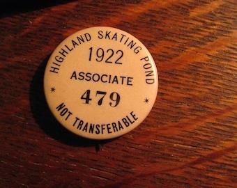 Highland Skating Pond Lapel Pin - Vintage 1922 USA Ice Skater Winter Associate
