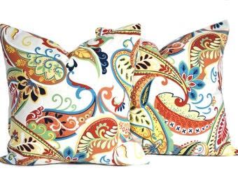 Two paisley multi-color pillow covers, nautical pillow, cushion, decorative throw pillow, decorative pillow, 18x18