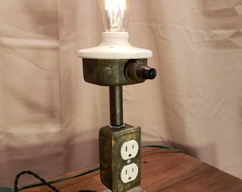 Industrial Steampunk Lamp - Pit Droid Lamp - Rusted Lamp - Edison Lamp - Cell Phone Charger