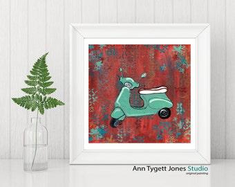 Vespa print, vespa scooter artwork, funky kids room art, modern contemporary print, scooter art, mint green art, vespa, art for kids room,