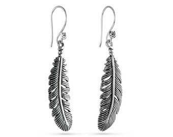 Feather Earrings - Antique Silver Feather Earrings