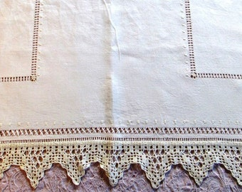 Irish linen curtain, drawn-thread work linen curtains, linen and lace curtains, hemstitched net curtain
