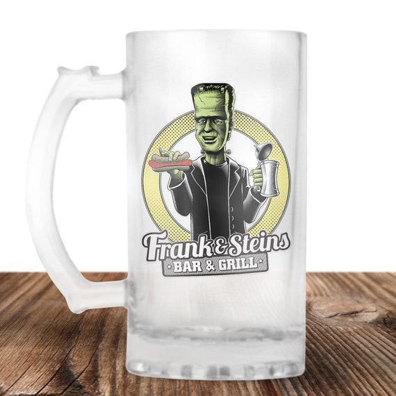 Frankenstein Beer Stein - Frank and Stein Bar and Grill-  Cult Horror Gift - Craft Beer Mug