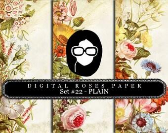 Rose Paper Digital - Set #22 - PLAIN - 3 Pg Instant Downloads - digital roses paper, floral digital paper, digital paper pack