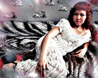 Crochet wedding dress, crochet long dress, dress, cotton dress, white dress, crochet clothing, women's clothing, organic clothing,  crochet