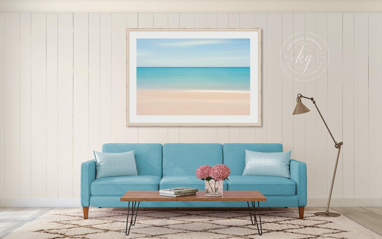 Framed Wall Art Abstract Beach Photo Coastal Decor Nautical
