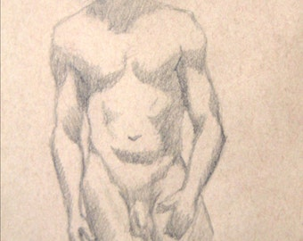 "Male Figure Drawing - Standing Nude Male Torso - original drawing, graphite on toned paper, 9x12 ""Dan"""