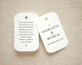 Sugared Almonds Personalized Gift Tags - Jordan Almond Favor Tags - Wedding Favor Tag - Wedding Bomboniere - Set of 24 (Item code: J722)