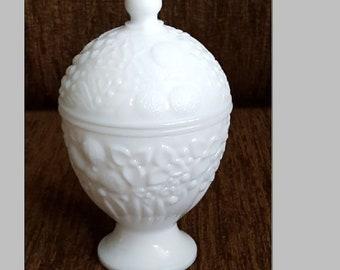 "Vintage rare milk glass egg shaped trinket box with lid 6"" tal"