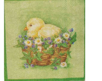 Set of 3 paper towels ANI011 chick on a basket of flowers
