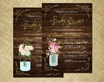 Mason Jar Baby Shower Invitation, Rustic Baby Shower Invitation, Wood Baby Shower Invitation, Country Baby Shower Invitation, Western Invite