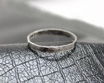 Sterling silver band ring - unisex, woman, men, rough, rustic, modern, minimalist, boho, stackable, hammered, rocker, gift, Free shipping!