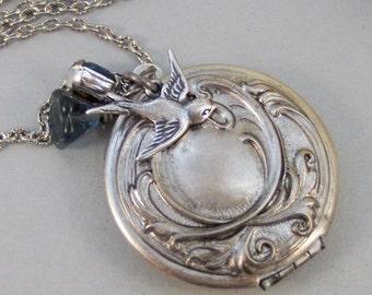 Sparrows Maiden,Locket,Silver Locket,Flower,Blue,Sapphire,Birthstone,Bird,Antique Locket,Floral,Jewelry.Jewelry by valleygirldesigns.