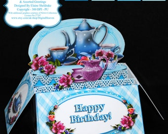 Tea For Two - 3D Pop Up Box Card Kit, Assorted Greetings & Matching Envelope - PU 300 dpi