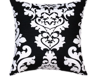 Black and White Pillow, Black Pillow Cover, Damask Pillow Cover, Black White Accent Pillow - Berlin Shadow Black Accent Pillow - Sham Cover