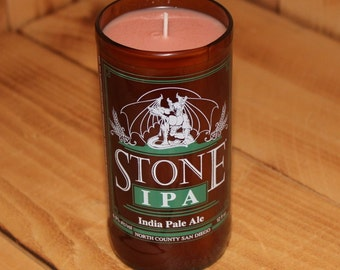 Hand Poured Soy Candle in Handmade Upcycled Stone IPA Glass made from a 12oz bottle