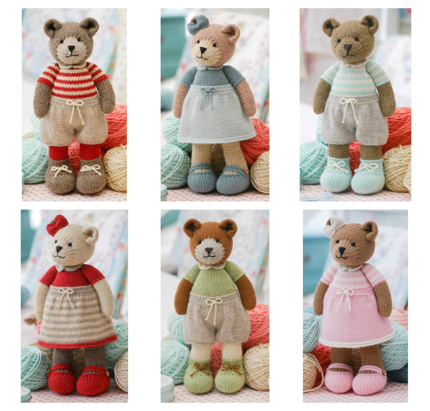 6 Teddy Bear variations/ Girl Bears/ Boy Bears/ Toy Knitting Pattern ...