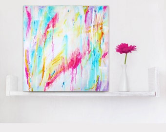 Abstract Art Small 12x12, Abstract Canvas Wall Art Print, Pastel Drip Painting, Canvas Painting Small White Teal Pink Red Pastel, Affordable
