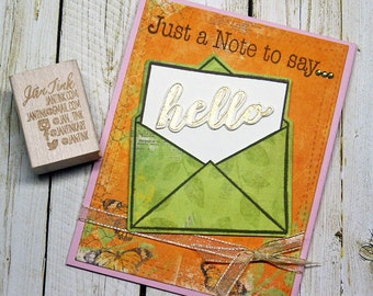 Just a Note to Say Hello Thinking of You Fancy Greeting Card Handmade Pink Orange Green for Friend Sister Mom Daughter Aunt Niece Coworker