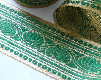 """Extra wide Green & Gold sari trim - TWO yards of luxurious Indian sari border with lotus flower and paisley pattern, 90mm/3.5"""" - 2 yards"""