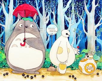 Orginal Watercolor Painting. Totoro and Baymax meet BB8.