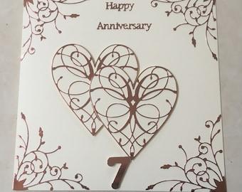 "Handmade Copper Wedding Anniversary Card 7th Happy Wedding Anniversary Large 8 "" Copper mirror Card hearts 7"