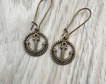 Anchor Bronze tone Charm on Kidney Earwire Earrings; nautical jewelry, anchor earrings, boho earrings, nautical earrings, gifts