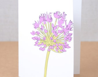 Illustrated Allium Flower Note Card / Floral Stationery / Any Occasion Blank Note Card