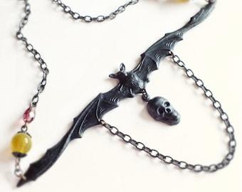 Black Bat Skull Necklace Oxidized Brass Victorian Statement Jewelry Creepy Gothic Goth Jewelry
