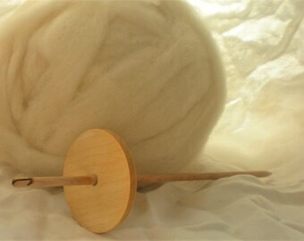 Drop Spinning Kit High Whorl Split Notch Drop Spindle Maple  28 g  Natural Roving