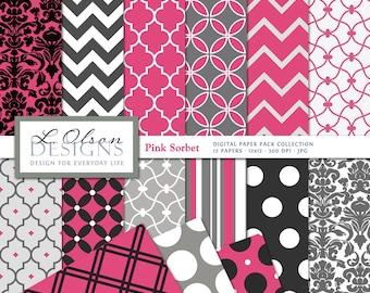 Pink, Gray, and Black Paper Pack - 12 digital paper patterns plus 3 BONUS - INSTANT DOWNLOAD