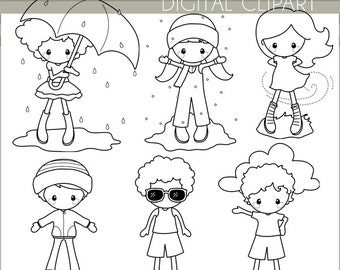Weather Clipart -Personal and Limited Commercial- Children in Weather Black Line Clip art