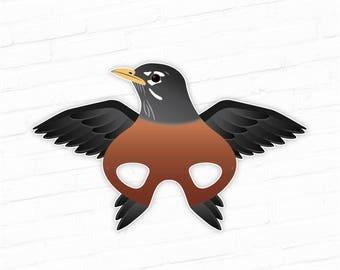 Printable Bird Mask, Robin Printable Mask, Animal Masks, Bird Masks, Robin Costume, American Robin Printable, Photo Booth Prop, Play Props