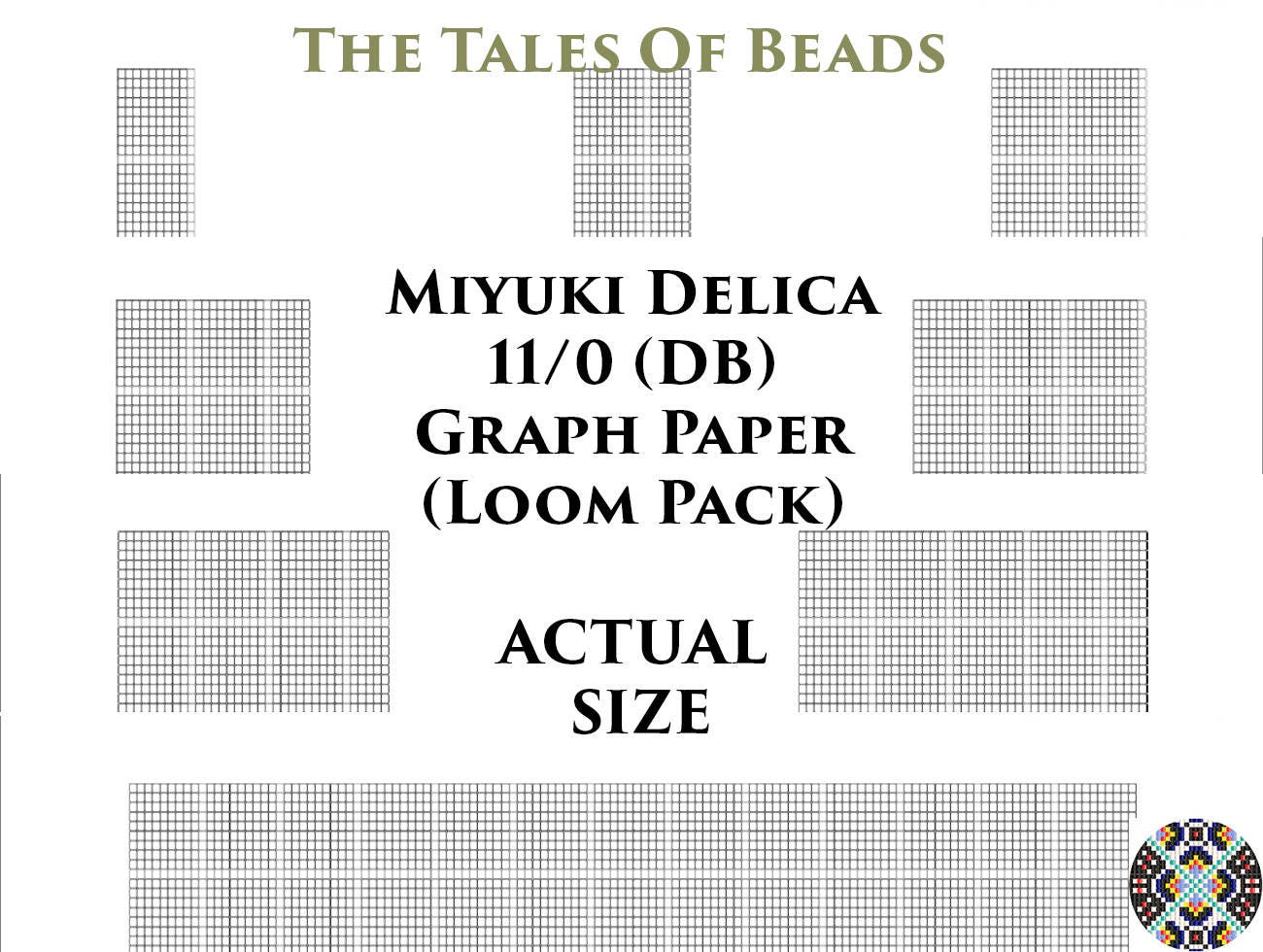11/0 Miyuki Delica Beading Graph Paper Actual Size Seed Bead