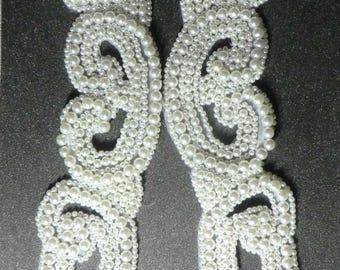 Pearl beaded appliques,white pearl, bridal trim,skating costume, belly dance costume,gymnastic costume, prom dress, mardi gras,carnival trim