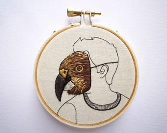 Modern Embroidery 'Kea Man' Mask art by Cheese Before Bedtime