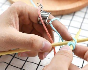 Knitting Ring Tool For Finger | 2 Loop Stranded Knit Ring | Knitting Ring | Best Crochet Ring, Knitting Accessories - Stainless Steel