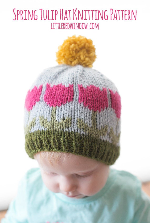 Tulip Hat KNITTING PATTERN / Flower Hat Pattern / Knit Flower