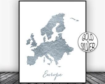 Europe Map, Europe Print, Europe Continent, Map of Europe, Map Wall Art Print, Office Prints, Housewarming Gift, Gold Decor, GoldArtPrint