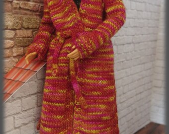 Hand knitted jacket with hood for Barbie, Poppy Parker, Momoko