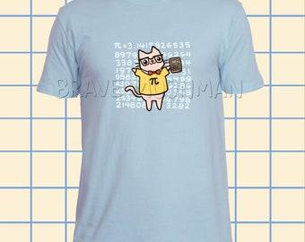 T Shirt Männer Grafik-t-Shirts Lehrer Pi Tshirt Geek Tshirt Katze Geschenk für Männer lustige T-Shirts für Männer Katze im Hemd