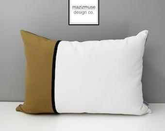 Decorative Outdoor Pillow Cover, Modern Pillow Cover, Brass White & Black Color Block Pillow, Masculine Sunbrella Cushion Cover, Mazizmuse