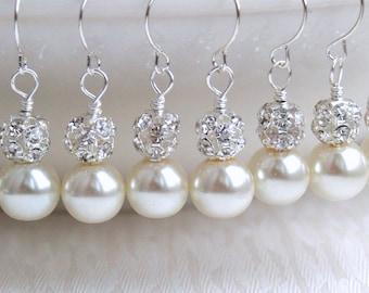 Set of 5, Swarovski Pearl 5 Earrings Bridesmaid Gift 5 Bridesmaid Earrings Set of 5 Bridesmaid Jewelry, Ivory Off White Wedding Party